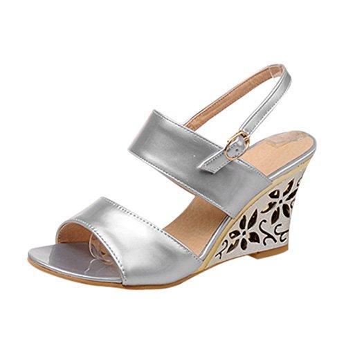 YE Damen Peep Toes High Heels Wedge Keilabsatz Slingback Riemchen Sommer Sandalen Schuhe Silber