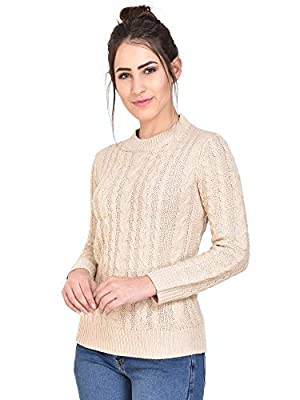 MansiCollections Beige Knitted Sweater for Women