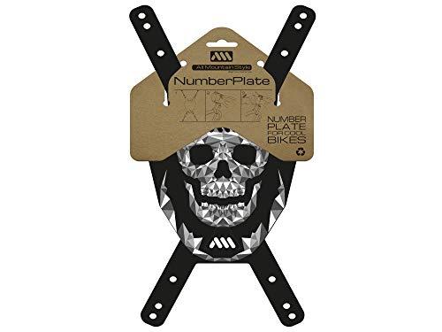 All Mountain Style AMS Placa Portanúmero AMSNP1SKBK, Calavera/Negro, Adultos Unisex, Talla única