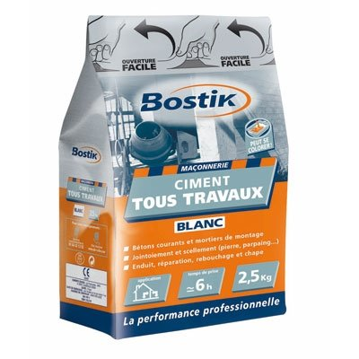 Ciment tous travaux Blanc - 2.5 Kg - BOSTIK