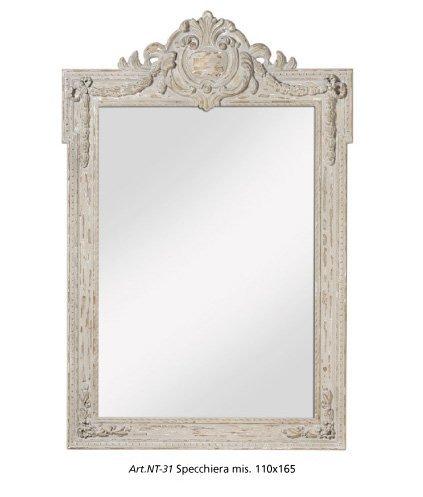 Specchiera di legno country stile vintage con fregi L'ARTE DI NACCHI NT-31