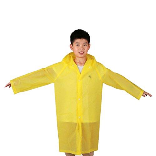 VORCOOL Kinder wiederverwendbare EVA Regen Poncho mit Kapuze für Themenparks Sportveranstaltungen Camping Reisen Konzerte oder einige Notfälle (gelb) - Kinder-notfall-poncho