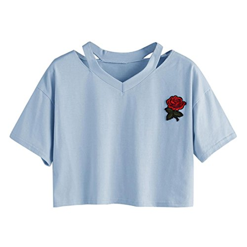 Damen T-Shirt XXYsm Kurzarm Bluse Sommer Oberteil Damen Shirt Locker Pullover Tops Damen Blumen Stickerei Weste Tops V-Ausschnitt (S, Blau)