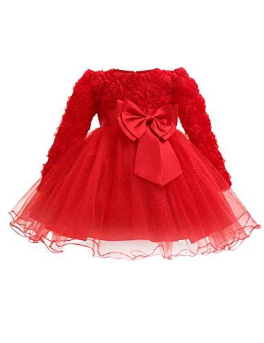 besbomig Kleinkind Baby Mädchen Kleid langärmliges Mesh Rock Kleider Röcke für Kinder - Brautjungfer Party Prinzessin Prom Hochzeit