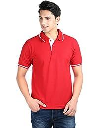 Illustre Men's Half Sleeve Red Polo T-Shirt