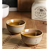 Miah Decor Studio Pottery Ceramic Chutney Bowl Set, Mustard Yellow & Off White, 40 ML, Set Of 2,