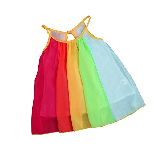 estyi Kleinkind Kinder Baby Mädchen Prinzessin Kleider Ärmellos Chiffon Tutu Regenbogen Kleider Sommerkleider Casualkleider Printkleider (6-7T/130CM, Multicolor) (Pirate-kleidung Für Kinder)
