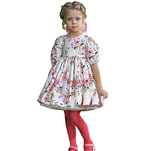 Baby Mädchen Kleid Spitze Floral Party Kleid Kurzarm Festes Kleid Kleidung ()