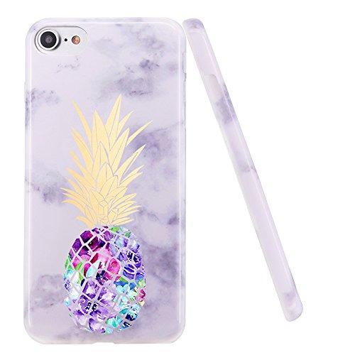 iPhone 5Fall, iPhone 5s Fall, doujiaz Marmor Design Transparent Bumper TPU Soft Case Gummi Silikon Skin für iPhone 55S SE, Purple Pineapple