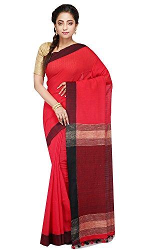 B3Fashion Handloom Traditional Bengal Soft Khadi Saree (Red)