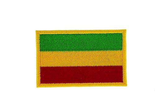 Akachafactory Gesticktes-Aufnäher Patch Flagge Backpack Äthiopien Rasta zum Aufbügeln (Patch äthiopien)