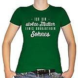 Shirtfun24 Damen Ich Bin stolze Mutter eines großartigen Sohnes T-Shirt, Kelly (Grün), M