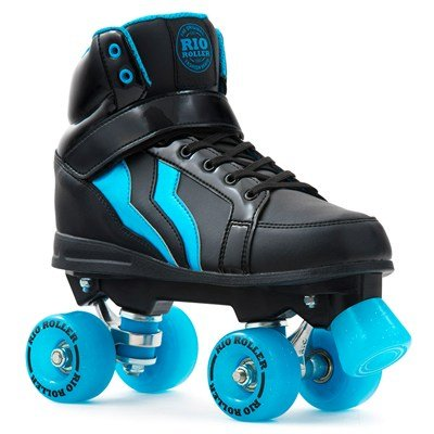 Rio Roller Kicks Style Quad Skate Child - Patines, Unisex Infantil, Negro (Black/Blue), 38
