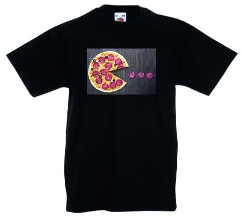 pacman Pizza arcade jeu vidéo 100% unisexe de coton d'enfants d'enfants Fruit of the Loom t-shirt personnalisé imprimé par les vêtements fou