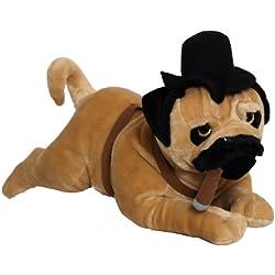 """Perro de peluche 60 cm """"pug"""" con el cigarro"""