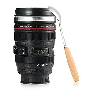 Splend Kaffeetasse mit Löffel, Kamera-Objektiv-Kaffeetassen Becher Tasse mit Deckel-Edelstahl-Trommel-Schale…