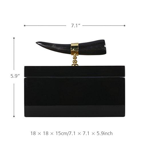Ppllmmnn jewelry box con corno strisce in legno gioielli display anello collana scatola di immagazzinaggio regali di compleanno per le donne black velvet, square18 * 18 * 15cm