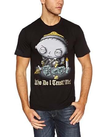 Family Guy Men's Stewie Trust Short Sleeve T-Shirt, Black, X-Large
