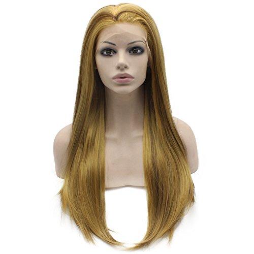 Iwona résistant à la chaleur Blond synthétique Lace Front Naturel longue Utilisation quotidienne droite Blond Naturel Perruque