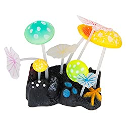 Imported Random Color Aquarium Fish Tank Soft Silicone Mushroom Lotus Leaf Decoration Ornament With suction cup