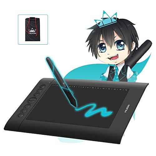 Huion® 2020 H610 Pro V2 Tablette Graphique Proaméliorée,Matériel de peinture professionnel Le soutien fonction de connexion OTG,8192 Niveaux,avec 8+16 Touches de Raccourcis personnalisées