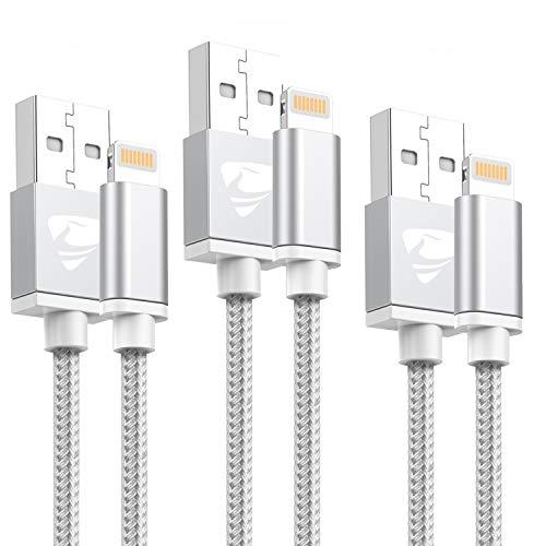 Chargeur iPhone 2M [Lot de 3] Aioneus câble iPhone MFI certifié Câble Lightning Rapide USB Compatible avec iPhone XS Max/XS/XR/X/8/8 Plus/7/7 Plus/6S/6S Plus/6/6 Plus/SE/5S/5C/5, iPad etc(Blanc)