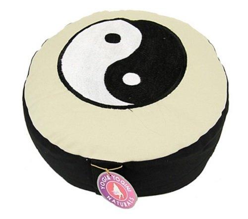 ManiBhadra Yogakissen Yoga Lotus Sitz Meditationskissen Symbol des Ying Yang Ø 33 x 15 cm, waschbar bei 30 Grad