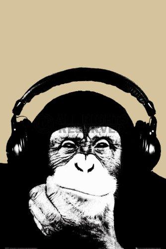 REINDERS Steez - Affe mit Kopfhörer - Poster 61 x 91,5 cm