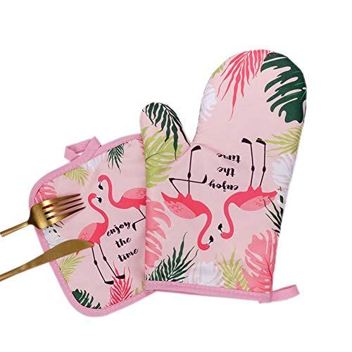 2-teiliges Baumwolle Hitzebeständige Handschuhe Fashion Flamingo -Muster Küche Pad Kochen Mikrowellen-Handschuhe Backen BBQ Topflappen Ofenhandschuhe Küchenhandschuhe Von Sommer's Laden
