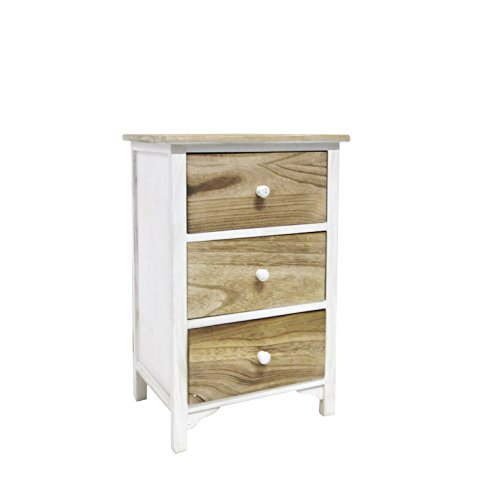 Mobili Rebecca Table de Nuit 3 tiroirs Table de Chevet Bois Naturelle Blanc Vintage (Cod. RE4460)