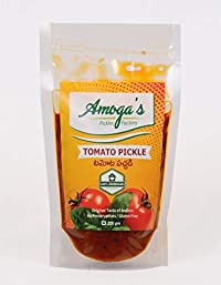 Amoga's Pickles Factory Andhra Authentic Tomato Pickle 100% Natural Handmade Pickles- 200 Gram (Pack of 2)