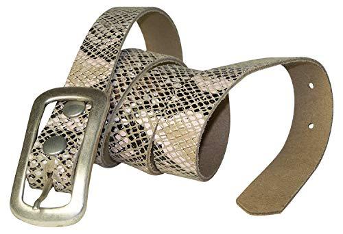 Fronhofer Schlangen Gürtel (Rindsleder in Schlangenmuster), rechteckige Schnalle mattsilber 2,5 cm 18446, Größe:Bundweite 95 cm = Gesamtlänge 110 cm, Farbe:Schlange Python Print Belt