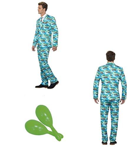 herausragenden Anzug, Aloha Hawaii grün, mit Jacke, Hose und Krawatte Junggesellen Rennen Tag Fancy Kleid Kostüm mit gratis Maracas (Rennen Kostüme)