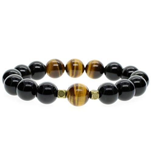 14mm Bracelet Mala Perles Plus Larges Pierres Naturelles Précieuses Obsidienne Noire Œil de tigre Jaune Homme