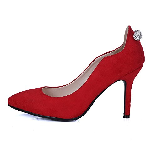 AllhqFashion Femme Couleur Unie Suédé à Talon Haut Pointu Tire Chaussures Légeres Rouge