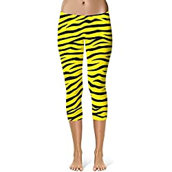 Mujer Pantalones De Capri Moda Chic Estampado Friends Cebra De Deporte Fitness Leggings Entrenamiento Stretch Slim Fit Chándal Pantalones De Chándal (Color : Amarillo, Size : M)