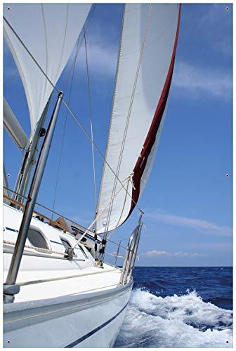 Tour Großes Poster (Wallario Garten-Poster Outdoor-Poster - Segelboot on Tour in Premiumqualität, Größe: 61 x 91,5 cm, für den Außeneinsatz geeignet)