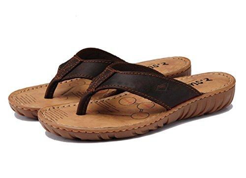 Insun Femme Cuir Flip Flops Normal Piscine Et Plage Plat Sandales Bout Ouvert Mules Chaussures Tongs Marron