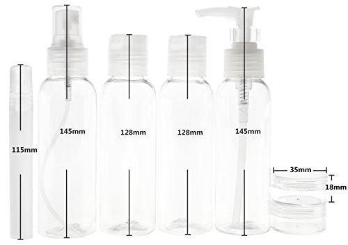 FiveSeasonStuff 8 Pezzi Vacanza Toilette 100ml Bottiglia Kit per Viaggio in Aereo , Conforme alle Aeroporto Limitazioni di Sicurezza (Tutte Transparente)