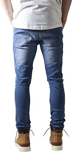 Urban Classics TB1436 Herren und Jungen Jeanshose Slim Fit Biker Jeans, Five-Pocket Stretch Biker Hose im Used Look Blau (blue washed 799)