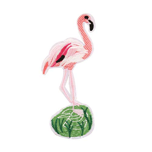 probeninmappx DIY Reise Patches Bestickt Nähen Patches Flamingo Muster Rucksäcke Tasche Kleidung Patches Eisen auf Aufkleber für Kleidung, 9 * 15 cm