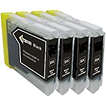 4x High Capacity Compatible Ink cartridges for BROTHER LC-123 BK BLACK with CHIP, for Brother Printers DCP-J4110DW, MFC-J4410DW, MFC-J4510DW, MFC-J4610DW, MFC-J4710DW, DCP-J132W, DCP-J152W, DCP-J552DX, DCP-J752DW - 16ml EACH