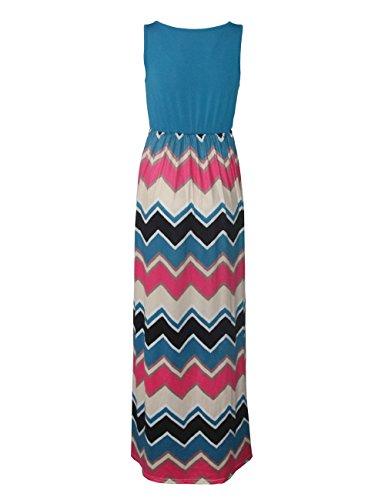 Shinekoo® Damen Lang High Waist Maxikleid Streifen Ärmellos Standkleid Partykleid Sommerkleid Himmelblau