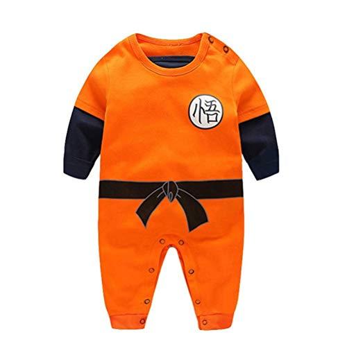 Dragon Ball Z Design Baby Jungen Mädchen Strampler Cosplay Kostüm Goku-inspiriert Säugling Outfit Overall Kleidung (Baby Goku Kostüm)