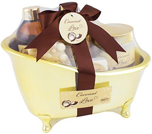 BRUBAKER set da bagno Coconut Love presentato una mini vasca da bagno color oro 6 pezzi