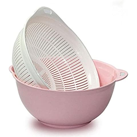 XQXCaliente doble cesta que se lava tamiz redondo pantalla gota de plástico frutas y verduras frutas y verduras pantalla de desecación , light powder , double