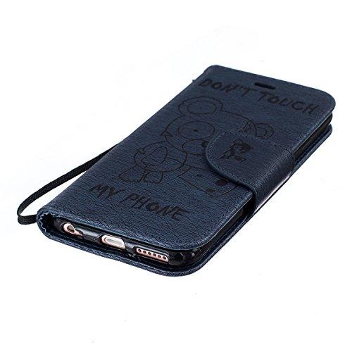Custodia per Apple iPhone 6, ISAKEN iPhone 6S Flip Cover, 4.7 inch Custodia con Strap, Elegante Sbalzato Embossed Design in Pelle Sintetica Ecopelle PU Case Cover Protettiva Flip Portafoglio Case Cove Orso:blu scuro