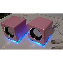 Diseño Cajas Altavoces USB para portátil PC Loudspeaker Color Rosa (Dr)