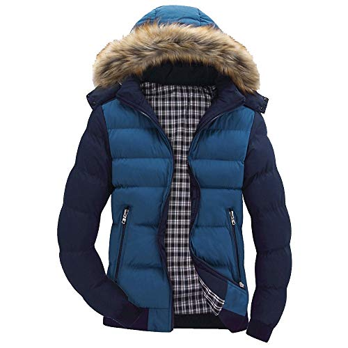 (Xmiral Men Daunenjacke Casual Warme Kapuze Winter Patchwork Zipper Outwear Jacke (S,Blau))
