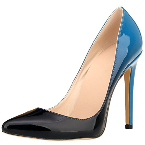 HooH Femmes Gradient Stiletto Pointed Toe Escarpins Pumps Bleu